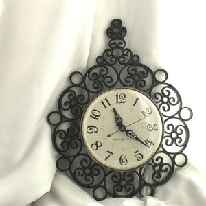 VTG GE MCM Black Working Wall Clock Mid Century